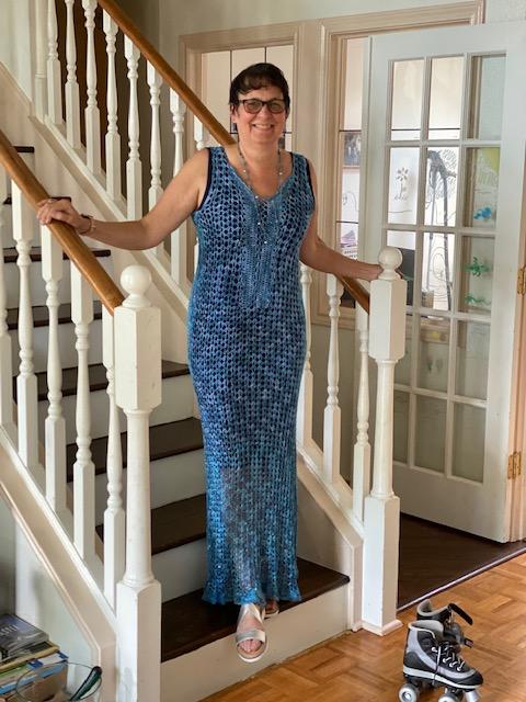 Jo Atwood dedicated crochet artist showing off her wearable work